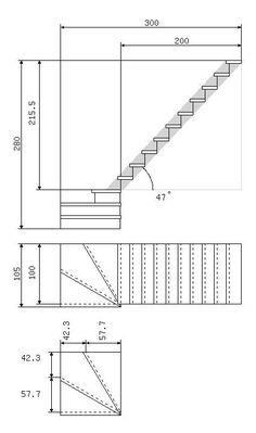 Расчет основных размеров лестницы с поворотными ступенями 90 гр.