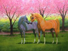 Horses in heaven  oil painting