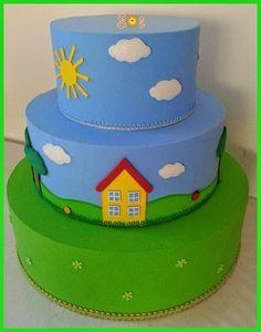 Sol... Artes em EVA: Bolo Peppa Pig... Bolo George Pig, George Pig Party, Bolo Jake, Bolo Da Peppa Pig, Bubble Cake, Minnie, Creative Cakes, Beautiful Cakes, 2nd Birthday