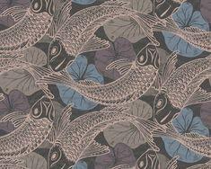 RW6662 Koi Fish Wallpaper Koi Wallpaper, Quirky Wallpaper, Wallpaper Roll, Clearance Wallpaper, Neon Licht, Carpe Koi, Koi Carp, Motifs Animal, Modern Colors