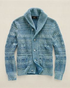 Indigo Cotton Shawl Cardigan - RRL Cardigan & Full-Zip - RalphLauren.com