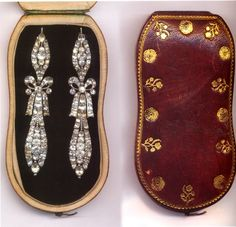 Marie Antoinette's diamond earrings in their case