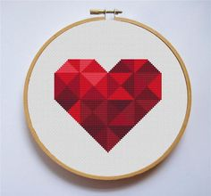Geometric heart [Cross Stitch PDF Pattern] Pattern Details: Stitches: x DMC colors: 6 Stitched Area Size: x inches or x cm based on fabric Attention! Size of the pattern do not include the margins. You should add cm) on every side to draw up the Cross Stitch Geometric, Easy Cross Stitch Patterns, Geometric Heart, Cross Stitch Borders, Cross Stitch Flowers, Cross Stitch Designs, Cross Stitching, Cross Stitch Embroidery, Embroidery Patterns
