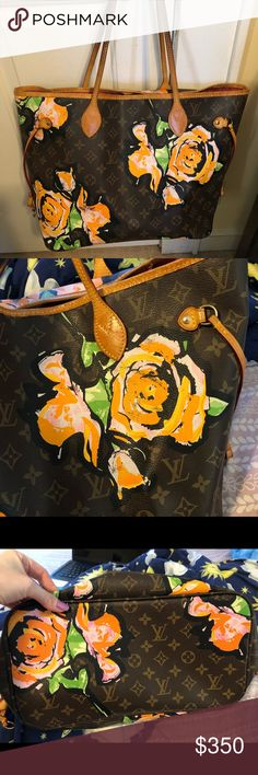 LV Neverfill Roses MM *Rare* Real leather but don't ask the obvious. Mirror image very rare. In excellent condition no rips or tears Louis Vuitton Bags Totes