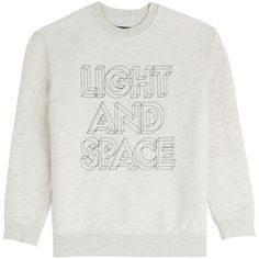 Marc by Marc Jacobs Light and Space Sweatshirt ($115) ❤ liked on Polyvore featuring tops, hoodies, sweatshirts, grey, crew-neck sweatshirts, grey top, long sleeve tops, grey sweatshirt and grey crewneck sweatshirt