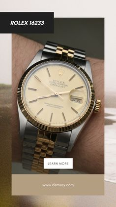 If you're shopping for a two-tone watch, look no further than the Rolex 16233. Launched in 1988, the Rolex Datejust 16233 combined the sweeping lines of earlier Datejust models, with a two-tone finish of stainless steel and 18K yellow gold. Learn more on our blog! Solid Gold Watch, Rolex Watches For Men, Pre Owned Rolex, Rolex Datejust, Automatic Watch, Stainless Steel Case, Product Launch, Models, Yellow