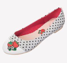 Chaussures Ballerines Pin-Up Rockabilly 50's Isabella Fraises
