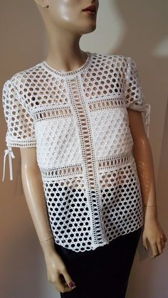 Self Portrait 2015 Summer New White Eyelet Hollow Out T-shirt Holes Top Size 12 #SelfPortrait #OtherTops #Party