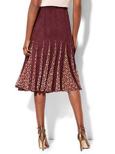 Godet Midi Skirt - Burgundy  - New York & Company