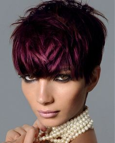 Make up A short black straight coloured purple choppy Modern Multi-Tonal hairstyle by Royston Blythe