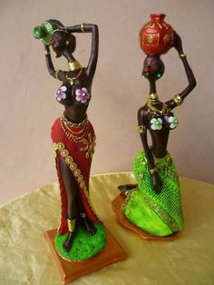 Resultado de imagen para africanas en yeso African American Figurines, African American Art, African Dolls, African Theme, Clay Art Projects, Indian Art Paintings, Africa Art, Tropical Art, African Culture