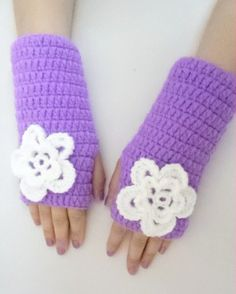 Spring Gloves gifts Lilac  Fingerless gloves with by BloomedFlower, $20.00