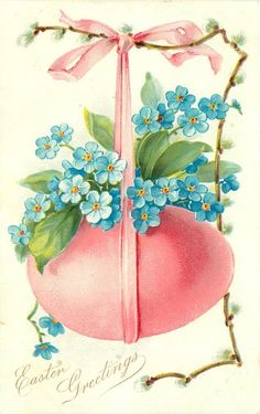 EASTER GREETINGS pussy-willow right & blue forget-me-nots over pink egg hanging from same coloured ribbon