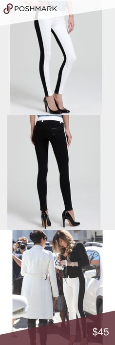 """HUDSON Collin Skinny Jeans 25 Vice Versa Black Excellent condition. Two tone Hudson Skinny Jeans """"Collin"""" in Black & White. As seen on a variety of celebrities can be dressed up or down as seen on Khloé Kardashian, Hillary Duff, And models Alessandra Ambrosio & Cara Delevingne. Retail $200 worn twice. Hudson Jeans Jeans Skinny"""