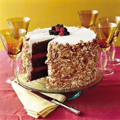 Blackberry-Raspberry Truffle Cake by Southern Living. This top-rated cake got rave reviews from our users, who praise its flavor and presentation. The recipe starts with boxed cake mix, making it a holiday-friendly cake for times when every minute counts.
