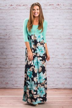 """""""Peaceful Paradise Maxi Dress, Mint""""There's something about this maxi dress that makes us feel at peace. Maybe it's the beautiful soft colors, the precious floral pattern or maybe it's the easy comfortable fit. #newarrivals #shopthemint"""