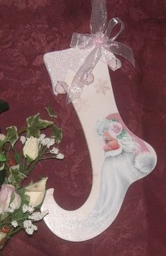 Christmas Santa Stocking Ornament, Handpainted in Pink Personalized Free. $12.00, via Etsy.