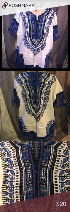 Hippy Boho African Dashiki Tribal Shirt unisex, 100% cotton,2 front pockets, slit with round neckline, two slits at the sides Dresses