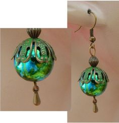 Gold & Green Christmas Drop/Dangle Earrings Handmade Jewelry Hook Fashion #Handmade #DropDangle http://www.ebay.com/itm/161918413409?ssPageName=STRK:MESELX:IT&_trksid=p3984.m1555.l2649