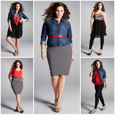 """5 easy pieces, 5 haute looks! plus size fashion"" I love these looks...all achieved by using similar items."