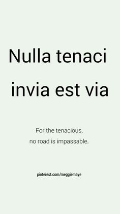 Nulla Tenaci Invia Est Via - For The Tenacious, No Road Is Impassable.