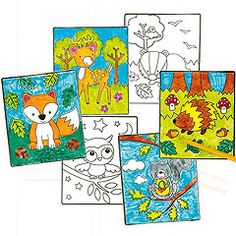 Woodland animal scenes to colour in and attach to windows.