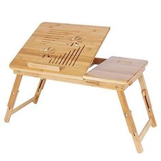 Songmics Portable Bamboo Foldable Laptop Desk Notebook adjustable height 55 x 35 x 29 cm Tray Table Bed Table with Drawer