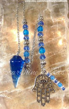 Blue Crystal & Onyx Hamsa Pendulum  Hamsa Hamsa by StarshineBeads