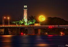 Glowing Moonrise over Jupiter Lighthouse by Justin Kelefas on 500px