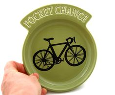 Bike Change Dish in Sage Green by LennyMud on Etsy, $14.00