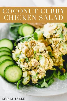 Mix up your lunchtime routine with this gluten-free, light and flavorful coconut curry chicken salad with no mayo! It's so easy to prep on a weekend for a week's worth of healthy lunches. Try it with your favorite crackers and fresh veggies, on top of a salad, or as a sandwich or wrap. Healthy Summer Recipes, Healthy Lunches, Healthy Salad Recipes, Lunch Recipes, Healthy Dinners, Chicken Curry Salad, Coconut Curry Chicken, Main Dish Salads, Main Dishes