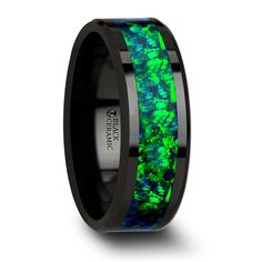 PULSAR Black Ceramic Wedding Band with Beveled Edges and Emerald Green & Sapphire Blue Color Opal Inlay - 6mm & 8 mm