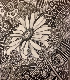 Zentangle Sunflower. each st. gets 1/4 of sunflower outline to ...