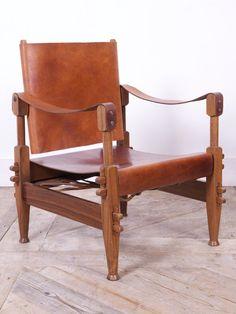 Walnut & Leather Safari Chairs – Drew Pritchard Ltd