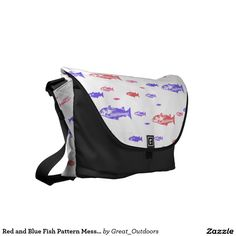 Red and Blue Fish Pattern Messenger Bag
