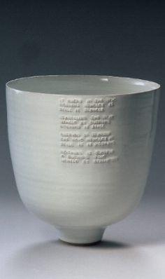 Rupert Spira - deep bowl with poem under white glaze