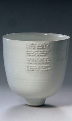 Rupert Spira - deep bowl with poem under white glaze