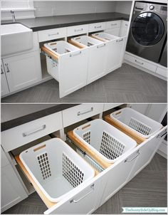 Install A Highly Functional Pull Out Basket Drawer                                                                                                                                                                                 More Washing Machine, Laundry, Home Appliances, Cabinet, Storage, Furniture, Home Decor, Laundry Room, House Appliances