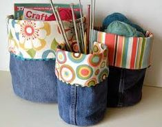 Recycle jeans into Denim Bins. pretty and cool way to recycle those old jeans! - - Recycle jeans into Denim Bins. pretty and cool way to recycle those old jeans! Great squidoo page with lots of other denim recycling ideas. Fabric Crafts, Sewing Crafts, Sewing Projects, Craft Projects, Craft Ideas, Craft Tutorials, Sewing Tutorials, Paper Crafts, Jean Crafts
