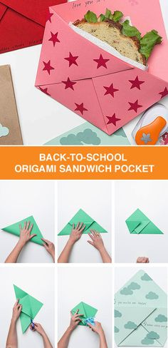 back to school origami sandwich pocket easy origami origami and lunch box. Black Bedroom Furniture Sets. Home Design Ideas