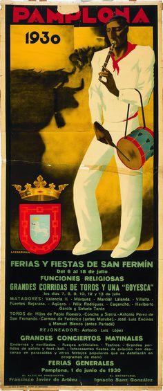 Cartel de los Sanfermines de 1930 - Fiestas y ferias de San Fermín, Pamplona :: Autor: Gerardo Lizarraga #Pamplona