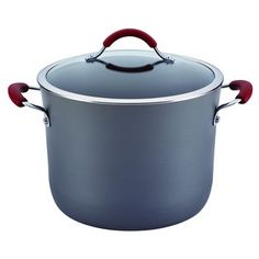 Shop for Rachael Ray Cucina Hard-anodized Nonstick Grey with Cranberry Red Handles Covered Stockpot. Get free delivery On EVERYTHING* Overstock - Your Online Kitchen & Dining Outlet Store! Boil Sweet Corn, Roasted Squash Soup, Burnt Food, Rice Cooker, Kitchenware, Food Network Recipes, Cookware, Cool Things To Buy, Pumpkin