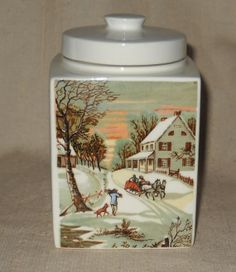 Currier and Ives Homestead in Winter Tea Jar by Our Own Import Japan by LovesVintageFinds, $10.00