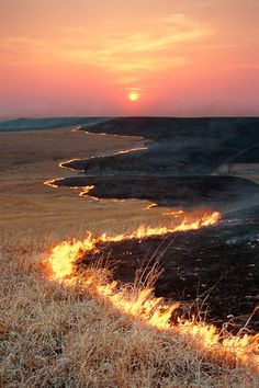 Flint hills pasture burning--has been done for hundreds of years, maybe a thousand. Renews the soil, kills weeds & insects, and produces fresh browse for wildlife. Native Americans practiced burning in many places, long before non-native people arrived in North America.