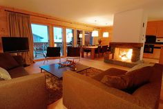A roaring fire at  Victoria, a 4-bedroom ski holiday rental in Verbier village, Switzerland.