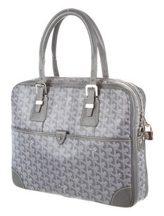 Grey and multicolor hand-painted Goyardine coated canvas Goyard Ambassade bag with silver-tone hardware, dual rolled shoulder straps, single pocket at front with prong closure, mustard woven interior lining, dual pockets at interior wall; one with prong closure, one with zip closure and zip closure at top. Shop Goyard consignment handbags at The RealReal.
