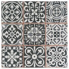 victorian marrakesh black decor wall floor tile 33x33cm - Decorative Wall Tiles