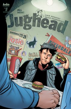 """friedpiecomics: """" Jughead Publisher: Archie Comics Release Date: Cover Artist: Mike Norton Available at Fried Pie Comic Shops """" New Riverdale, Archie Comics Riverdale, Comic Book Covers, Comic Books Art, Book Art, Archie Comics Jughead, Unbeatable Squirrel Girl, Betty & Veronica, The Pussycat"""
