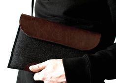 iPad AIR case bag leather merino wool felt $65