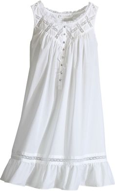 Cotton Lawn Short Nightgown From Eileen West, Inspired By a Moonlit Night ~ The Vermont Country Store